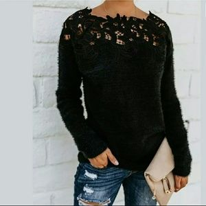 NWOT Black Soft Sweater With Lace Insert Neckline